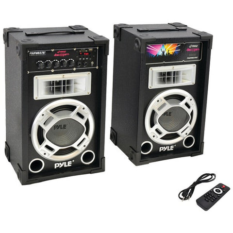 Pyle PSUFM837BT Dual 800-Watt Disco Jam Powered Two-Way PA Bluetooth Speaker System