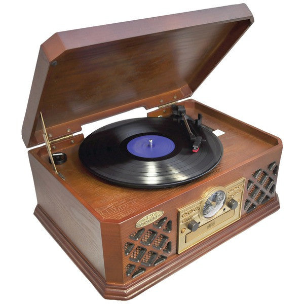 Pyle PTCD4BT Retro Style Turntable with Bluetooth CD Player & Cassette Deck