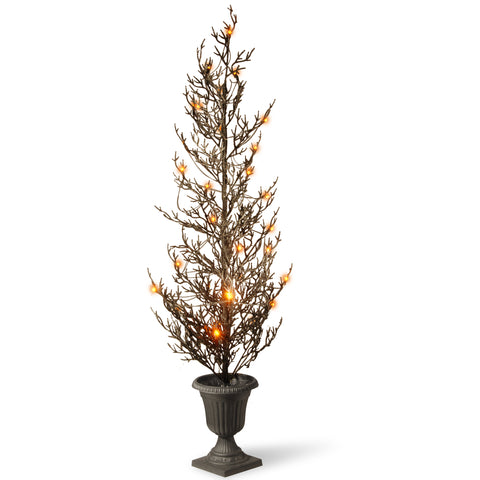 "National Tree RAH-15561TS46L 46"" Black Glittered Halloween Tree with Lights"