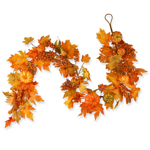 "National Tree RAHV-G060202A Harvest Accessories-70"" Garland with Maples & Pumpkins"