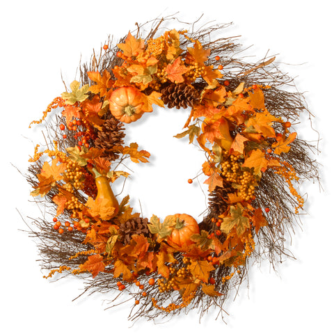 "National Tree RAHV-LFG31293 28"" Pumpkin Wreath"