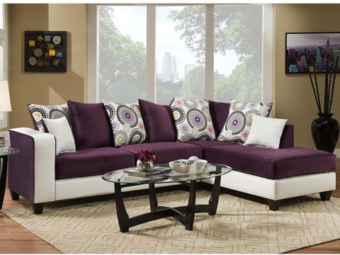 Flash Furniture RS-4124-05SEC-GG Riverstone Implosion Purple Velvet Sectional - Peazz.com - 1