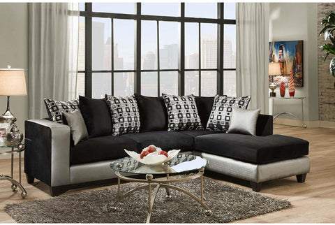 Flash Furniture RS-4124-06SEC-GG Riverstone Implosion Black Velvet Sectional - Peazz.com - 1