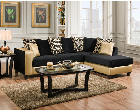 Flash Furniture RS-4124-07SEC-GG Riverstone Implosion Black Velvet Sectional - Peazz.com - 1