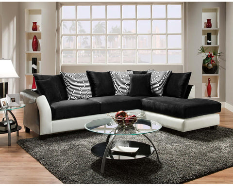 Flash Furniture RS-4174-02SEC-GG Riverstone Implosion Black Velvet Sectional - Peazz.com - 1