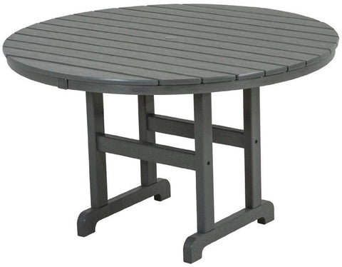 "Polywood RT248GY Round 48"" Dining Table Slate Grey Finish - PolyFurnitureStore - 1"