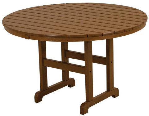 "Polywood RT248TE Round 48"" Dining Table Teak Finish - PolyFurnitureStore - 1"