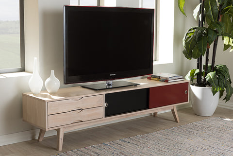 Baxton Studio RT441-OCC Foxhill Mid-Century Modern Scandinavian Inspired Multi-colored Solid Rubberwood TV Stand