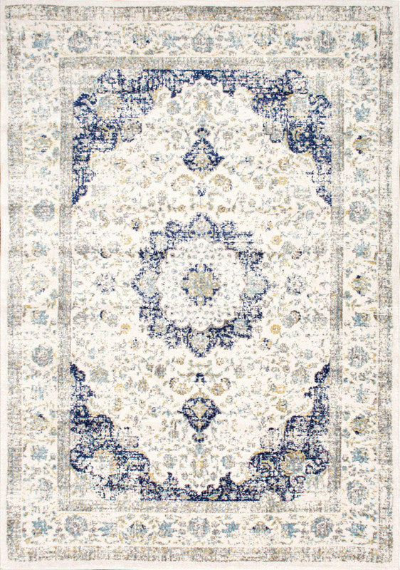 Priceless Aged And Antique Looking Blue And White Area Rug
