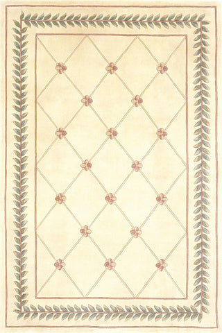 "KAS Rugs Ruby 8905 Ivory Trellis Hand-Tufted 100% Wool 2'3"" x 7'6"" Runner"