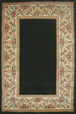 "KAS Rugs Ruby 8941 Black Floral Border Hand-Tufted 100% Wool 5'3"" x 8'"