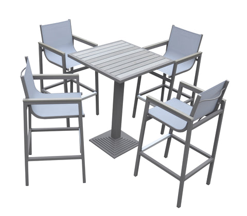 Armen Living SETODMABTGR Marina Outdoor Patio Set Grey Finish and Grey Wood Top (Table with 4 barstools)