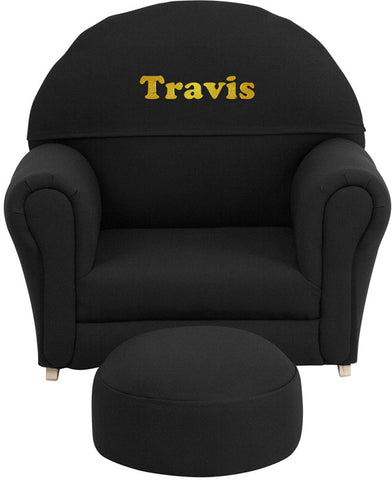 Flash Furniture SF-03-OTTO-BL-TXTEMB-GG Personalized Kids Black Fabric Rocker Chair and Footrest - Peazz.com
