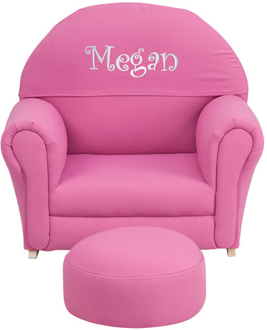 Flash Furniture SF-03-OTTO-HP-EMB-GG Personalized Kids Hot Pink Fabric Rocker Chair and Footrest - Peazz.com