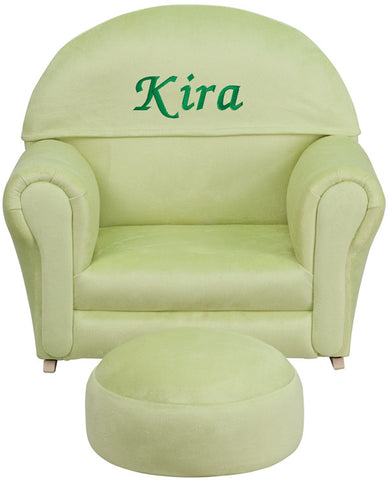 Flash Furniture SF-03-OTTO-MIC-GRN-EMB-GG Personalized Kids Green Microfiber Rocker Chair and Footrest - Peazz.com
