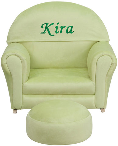Flash Furniture SF-03-OTTO-MIC-GRN-TXTEMB-GG Personalized Kids Green Microfiber Rocker Chair and Footrest - Peazz.com