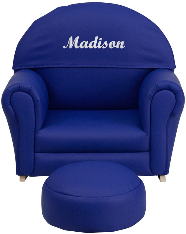 Flash Furniture SF-03-OTTO-NY-EMB-GG Personalized Kids Navy Vinyl Rocker Chair and Footrest