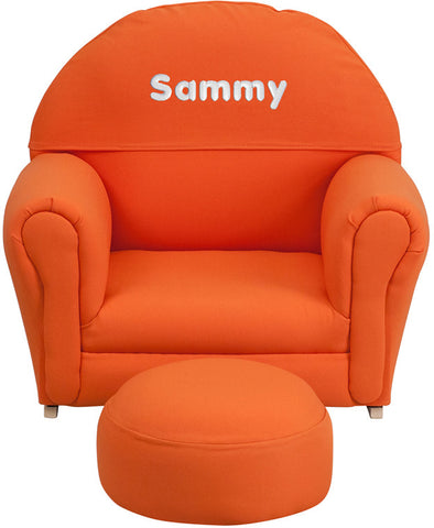 Flash Furniture SF-03-OTTO-ORG-TXTEMB-GG Personalized Kids Orange Fabric Rocker Chair and Footrest - Peazz.com