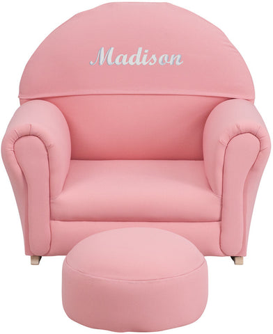 Flash Furniture SF-03-OTTO-PK-EMB-GG Personalized Kids Pink Fabric Rocker Chair and Footrest - Peazz.com