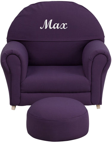 Flash Furniture SF-03-OTTO-PUR-TXTEMB-GG Personalized Kids Purple Fabric Rocker Chair and Footrest - Peazz.com