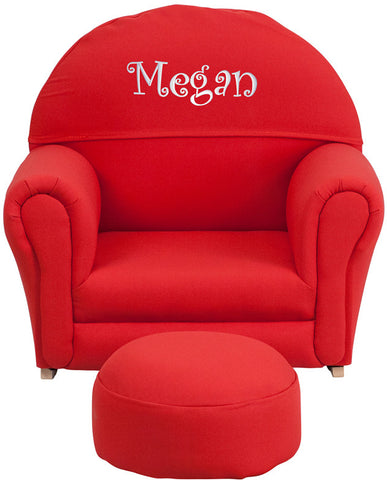 Flash Furniture SF-03-OTTO-RED-TXTEMB-GG Personalized Kids Red Fabric Rocker Chair and Footrest - Peazz.com