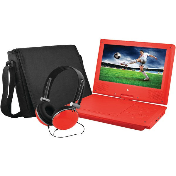 "Ematic EPD909RD 9"" Portable DVD Player Bundles (Red)"