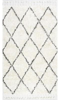 Nuloom SPRE14A-609 Moroccan Collection Natural Finish Hand Knotted Fez Shag - Peazz.com