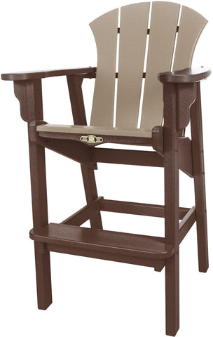 Pawleys Island Hammocks SRHDC1CHOWW Sunrise High Dining Chair-Chocolate/Weatherwood (W 29 x H 49.5 in.) - Peazz.com