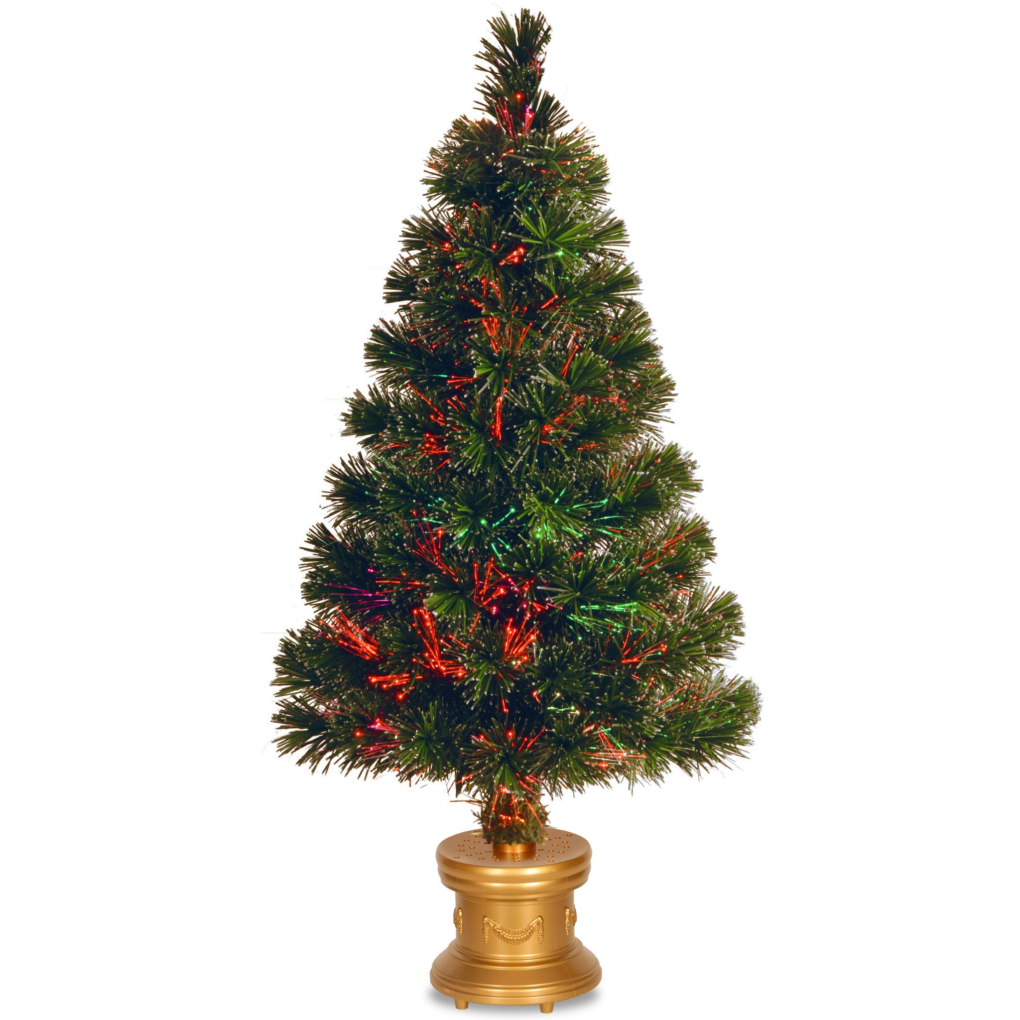 """National Tree SZEX7-100-32-1 32"""" Fiber Optic """"Evergreen"""" Firework Tree with Top Star and Gold Column Base-Multi Color Wheel-UL"""