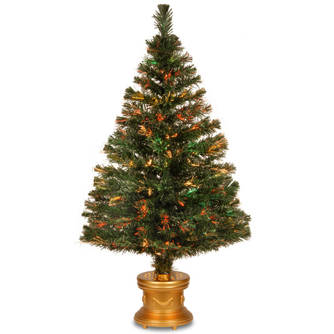"National Tree SZEX7-100-48 48"" Fiber Optic ""Evergreen"" Firework Tree with and Gold  Base - Peazz.com"