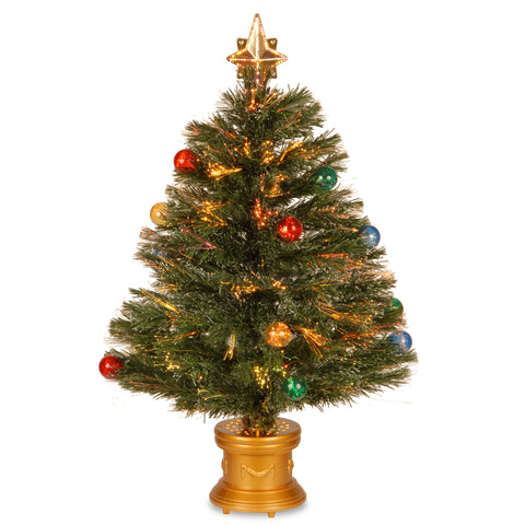 "National Tree SZOX7-100-32-1 32"" Fiber Optic Fireworks Red, green, Blue, and Gold Fiber Inner Ornament Tree with Top Star and Revolving LED Base - Peazz.com"