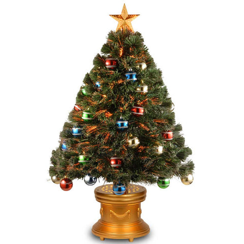 "National Tree SZOX7-176-36 36"" Fiber Optic Fireworks Glittered Balls Red, Green, Blue & Yellow Ornament Tree with Gold Top Star in Gold Base - Peazz.com"
