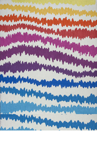 "KAS Rugs Shelby 6305 Rainbow Soundwaves Hand-Tufted 100% Polyester Chenille 6'6"" x 9'6"""