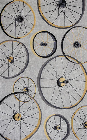"KAS Rugs Sonesta 2035 Grey Wheels In Motion Hand-Hooked 100% Polyester 2' x 7'6"" Runner"
