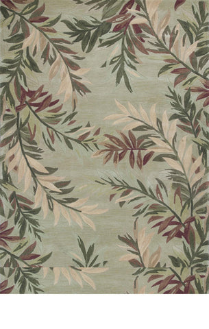 "KAS Rugs Sparta 3144 Sage Tropical Branches Hand-Tufted 100% Wool 3'6"" x 5'6"""