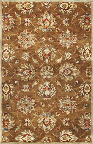 "KAS Rugs Syriana 6004 Coffee Allover Kashan Hand-Tufted 100% New Zealand Wool 2'3"" x 7'6"" Runner"