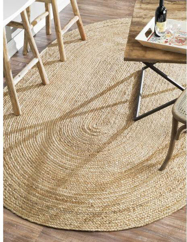 Nuloom TAJT03-406O Natura Collection Natural Finish Hand Woven Rigo Jute Rug - Peazz.com