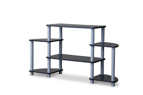 Baxton Studio TR-124 Orbit Black and Silver 3-Tier TV Stand