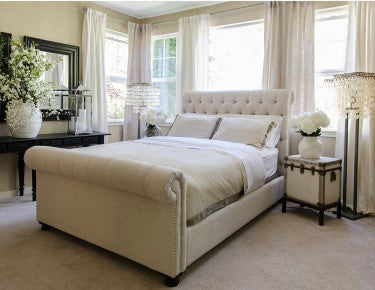 Element Home Furnishing TRI-CKB-SEAS-7 Tribeca Roll Bed With Footboard in Seashell, Bed Size California King - Peazz.com