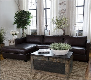 Element Home Furnishing URB-SEC-RAFL-LAFC-CAPP-1 Urban Top Grain Leather Sectional (Right Arm Facing Loveseat, Left Arm Facing Chaise) - Peazz.com
