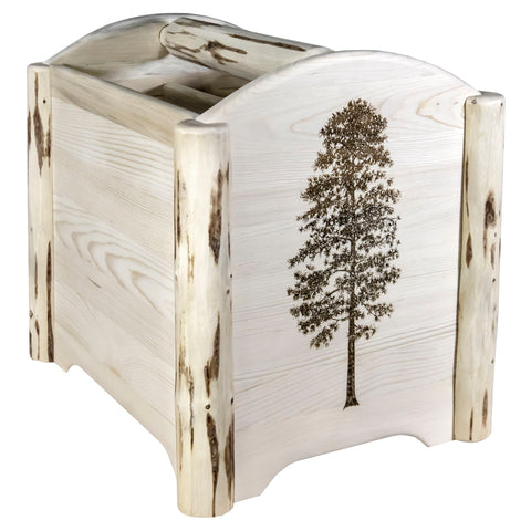 Montana Collection MWMAGVLZPINE Magazine Rack w/ Laser Engraved Pine  Design, Clear Lacquer Finish