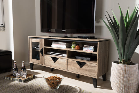 Baxton Studio W-1512 Cardiff Modern and Contemporary Light Brown Wood 55-Inch TV Stand