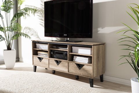 Baxton Studio W-1515 Wales Modern and Contemporary Light Brown Wood 55-Inch TV Stand
