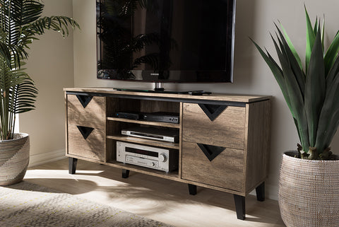 Baxton Studio W-1516 Beacon Modern and Contemporary Light Brown Wood 55-Inch TV Stand