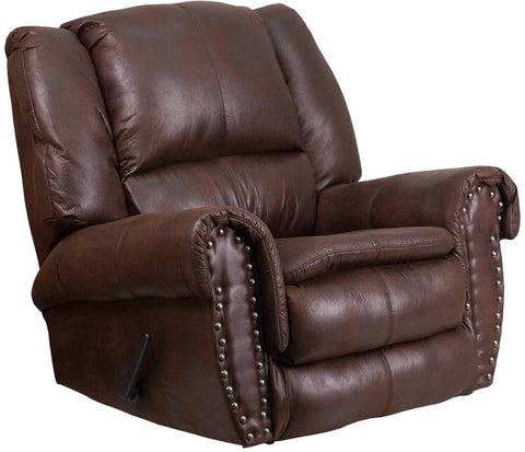 Flash Furniture WA-1459-690-GG Contemporary, Breathable Comfort Padre Espresso Fabric Rocker Recliner with Brass Accent Nails - Peazz.com