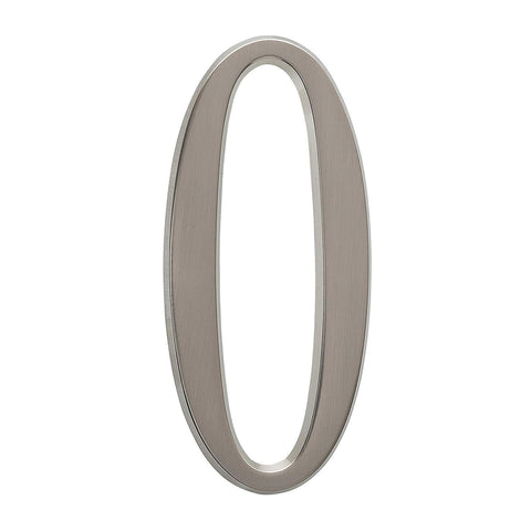 "Whitehall Products DeSign-it Standard Plaque, Number ""0"", Brushed Nickel"