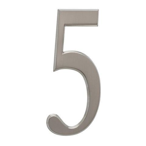 "Whitehall Products DeSign-it Standard Plaque,4.75"" Number 5 Brushed Nickel"