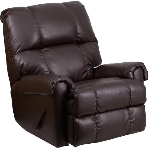 Flash Furniture WM-8700-620-GG Contemporary Ty Chocolate Leather Rocker Recliner - Peazz.com - 1