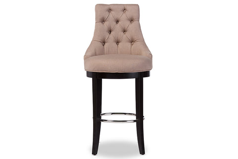 Baxton Studio WS-2076-Beige Harmony Modern and Contemporary Button-tufted Beige Fabric Upholstered Bar Stool with Metal Footrest