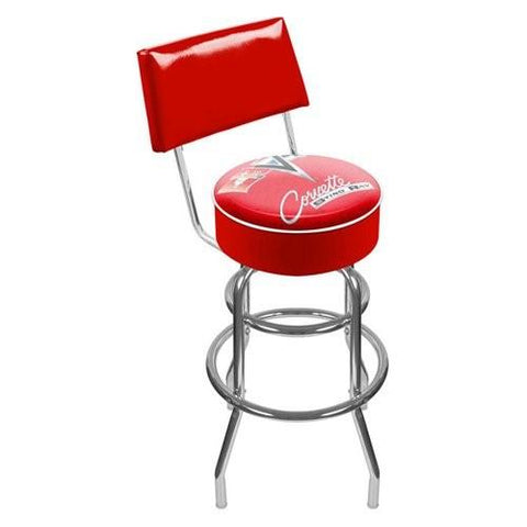 Gm1100R-C2-Cor Corvette C2 Red Padded Swivel Bar Stool With Back